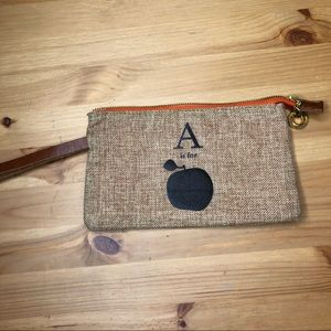 Apple & Bee Organic A for Apple Jute Pouch Clutch